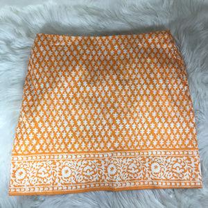 J. Crew Orange White Pencil Skirt Size 0